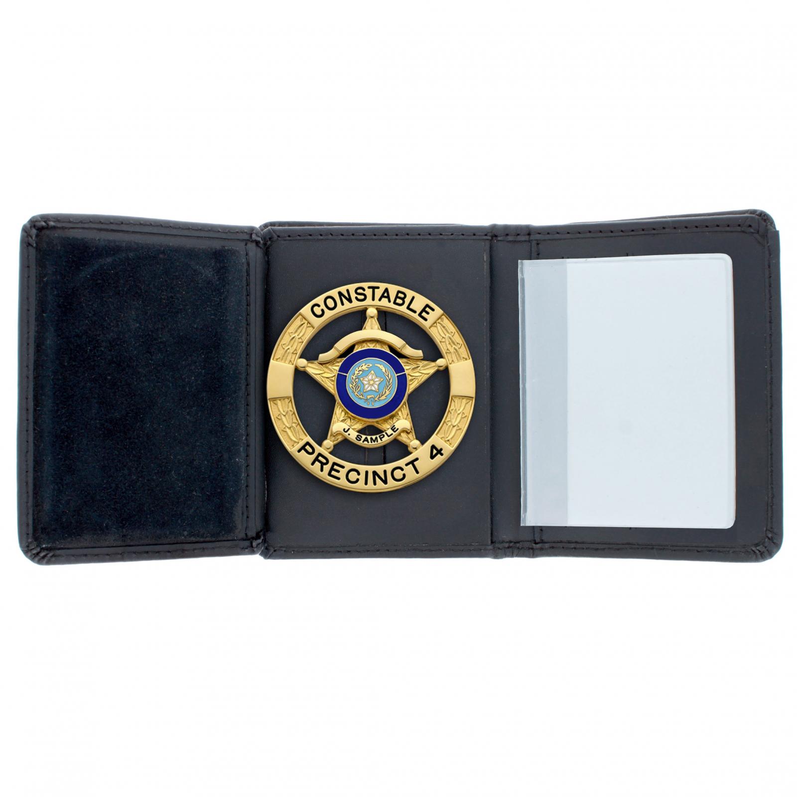 ASR Federal Law Enforcement RFID Leather Hidden Badge Folding Wallet - Round