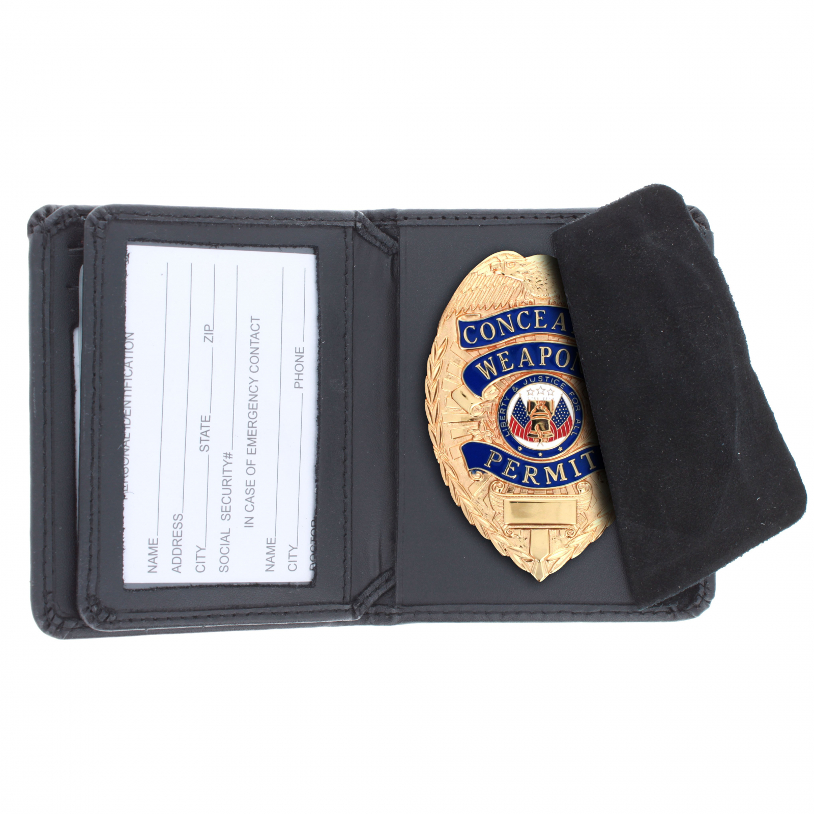 ASR Federal Law Enforcement RFID Leather Hidden Badge ID Wallet - Shield
