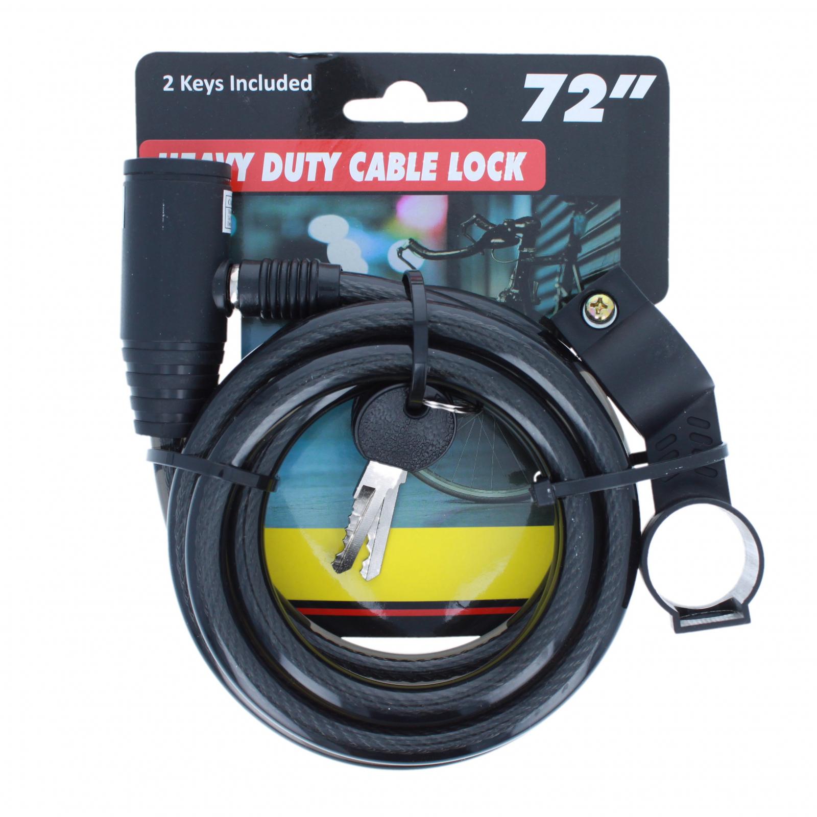 Heavy Duty Mounting Bracket Bike Lock Cable 2 Keys Black