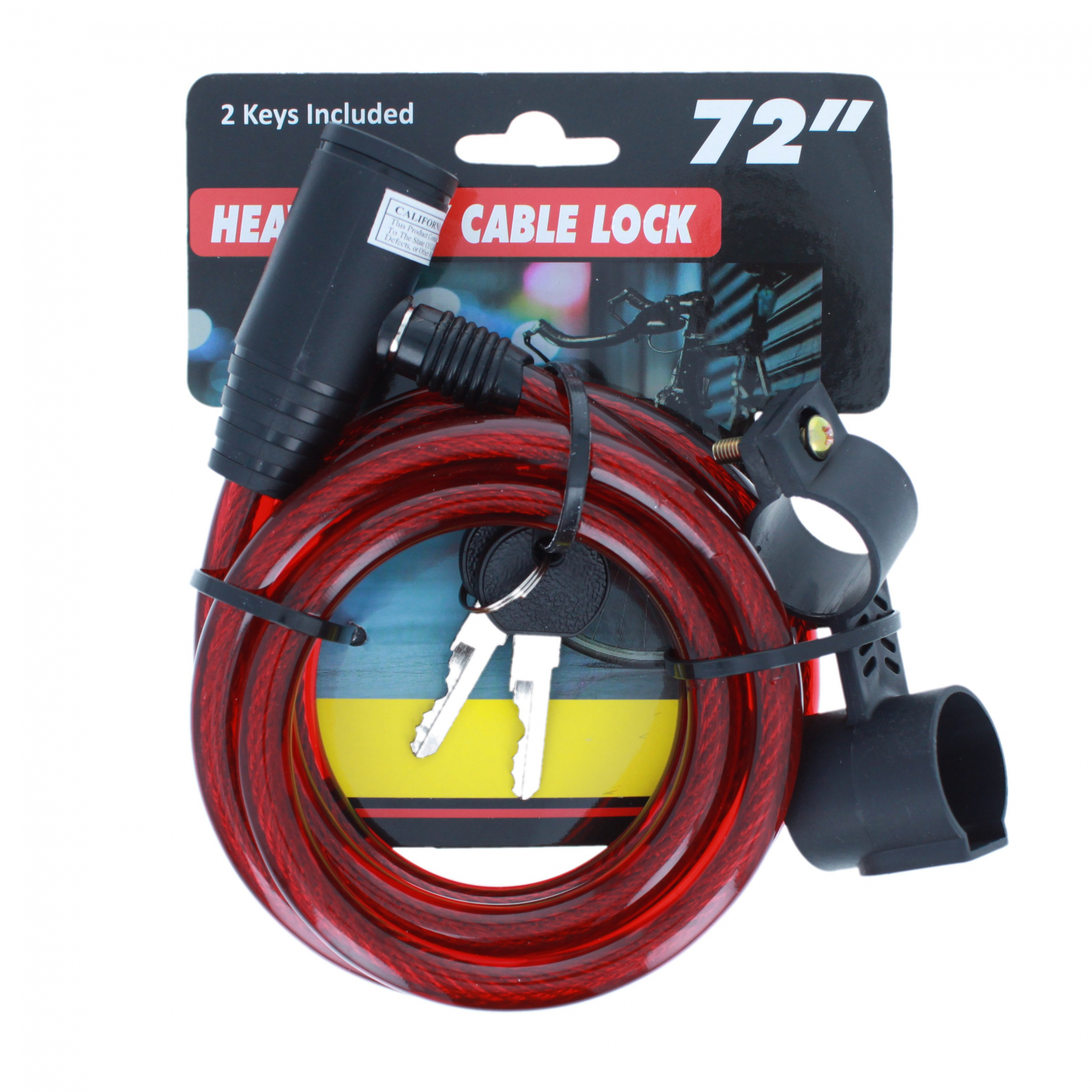Heavy Duty Mounting Bracket Bike Lock Cable with 2 Keys Red