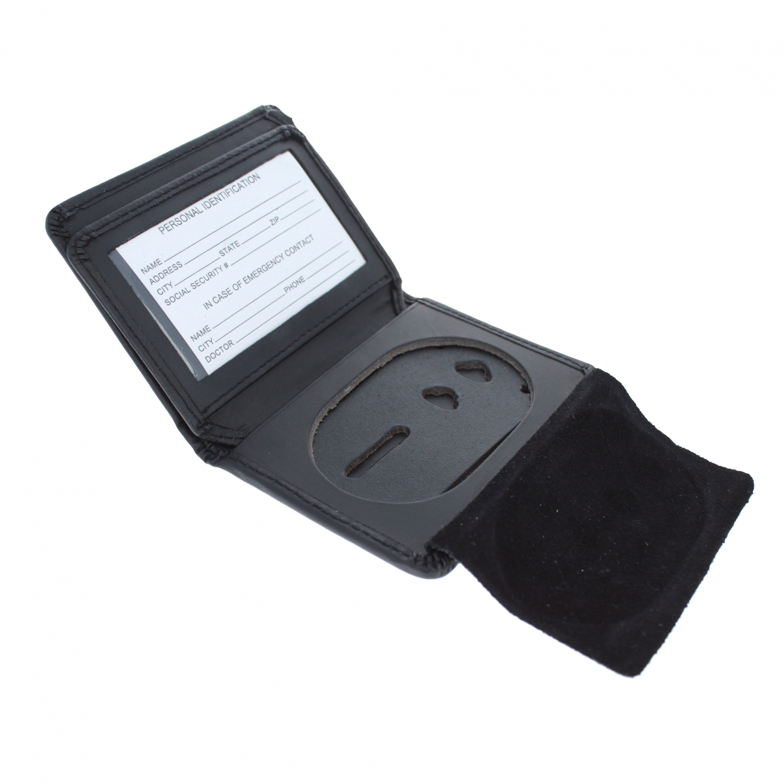 ASR Federal Law Enforcement RFID Leather Hidden Badge Wallet and ID Holder - Oval