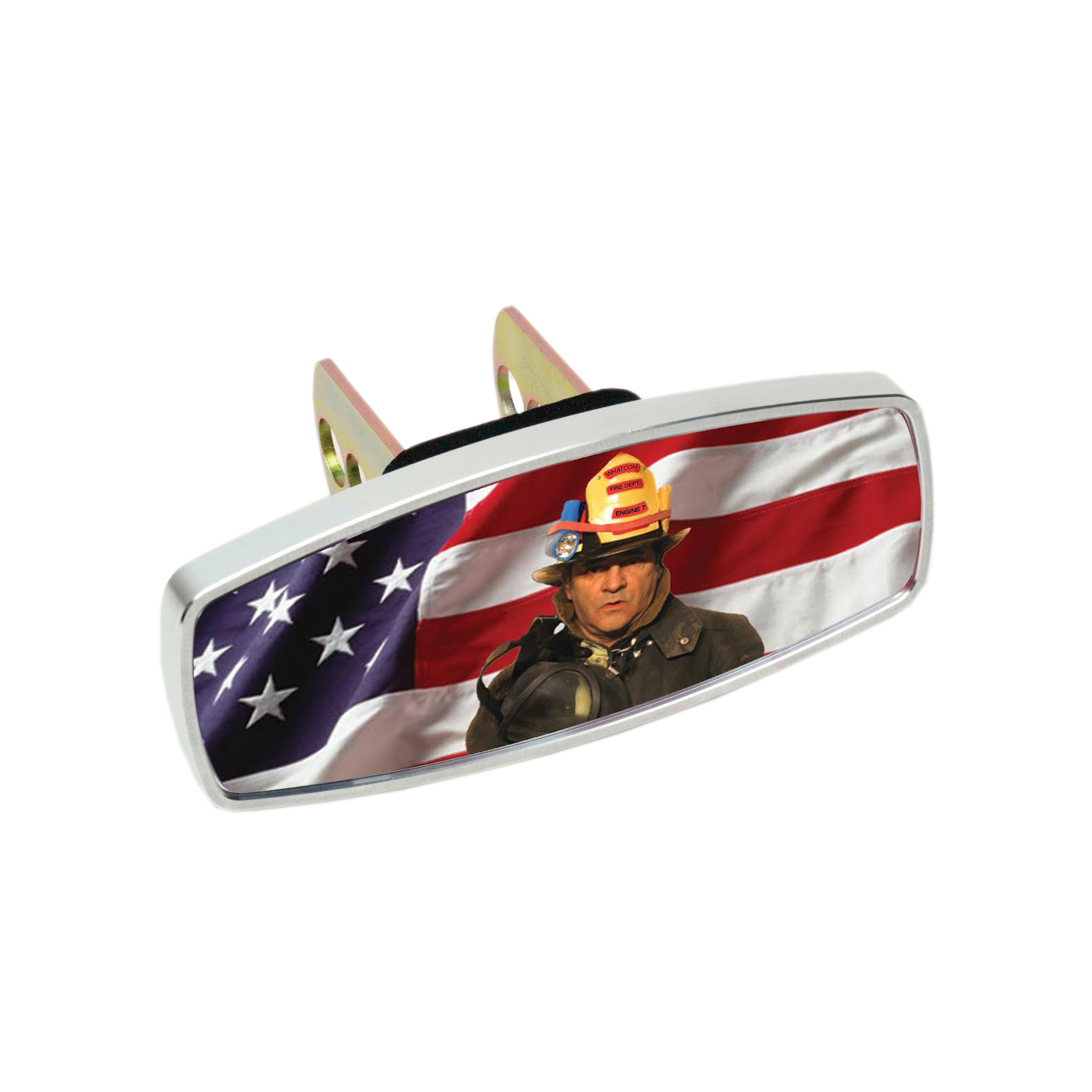HitchMate Premier Series Hitch Cap Cover - Flag and Fireman