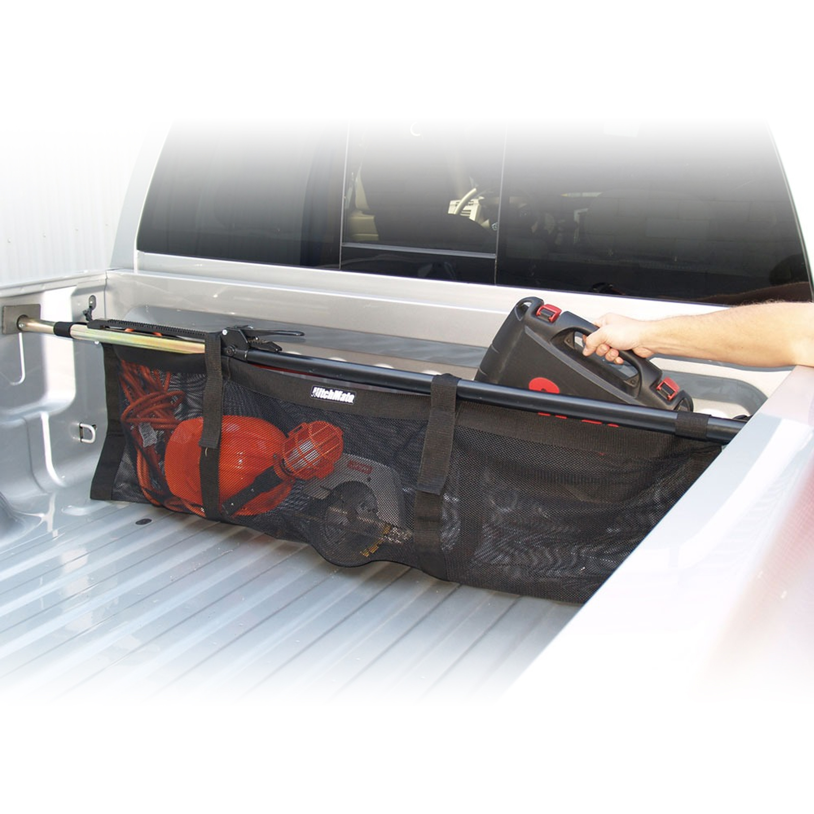 Hitchmate Truck Bed Net Cargo Carrying Bag Organizer Tailgate Accessory - Black