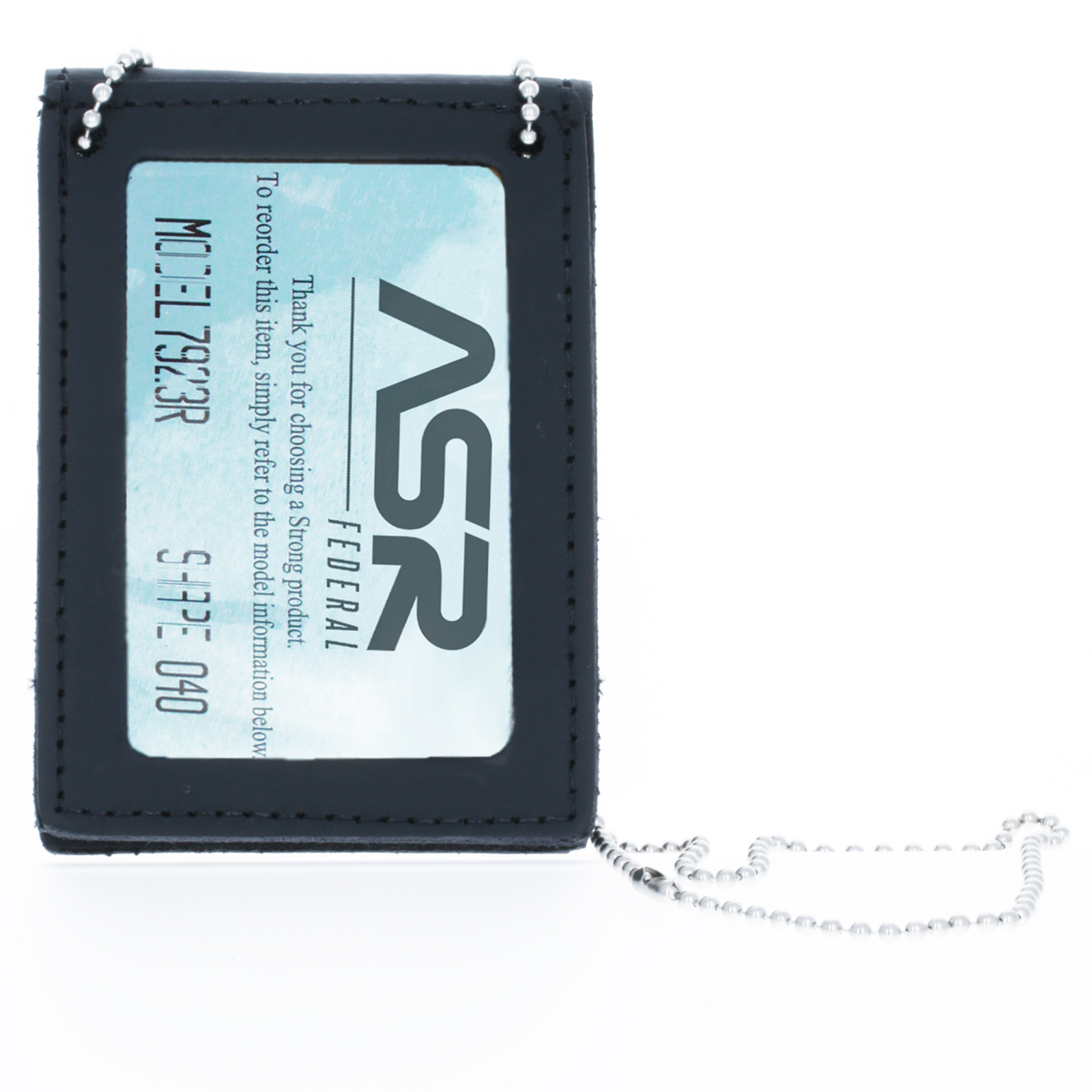 ASR Federal Leather Badge Holder Neck Chain Case for Undercover Law Enforcement
