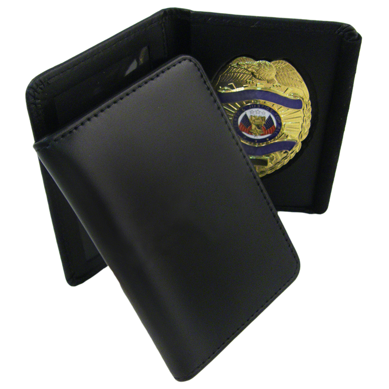100% Genuine Leather Universal Law Enforcement Badge Holder Wallet Case - Shield