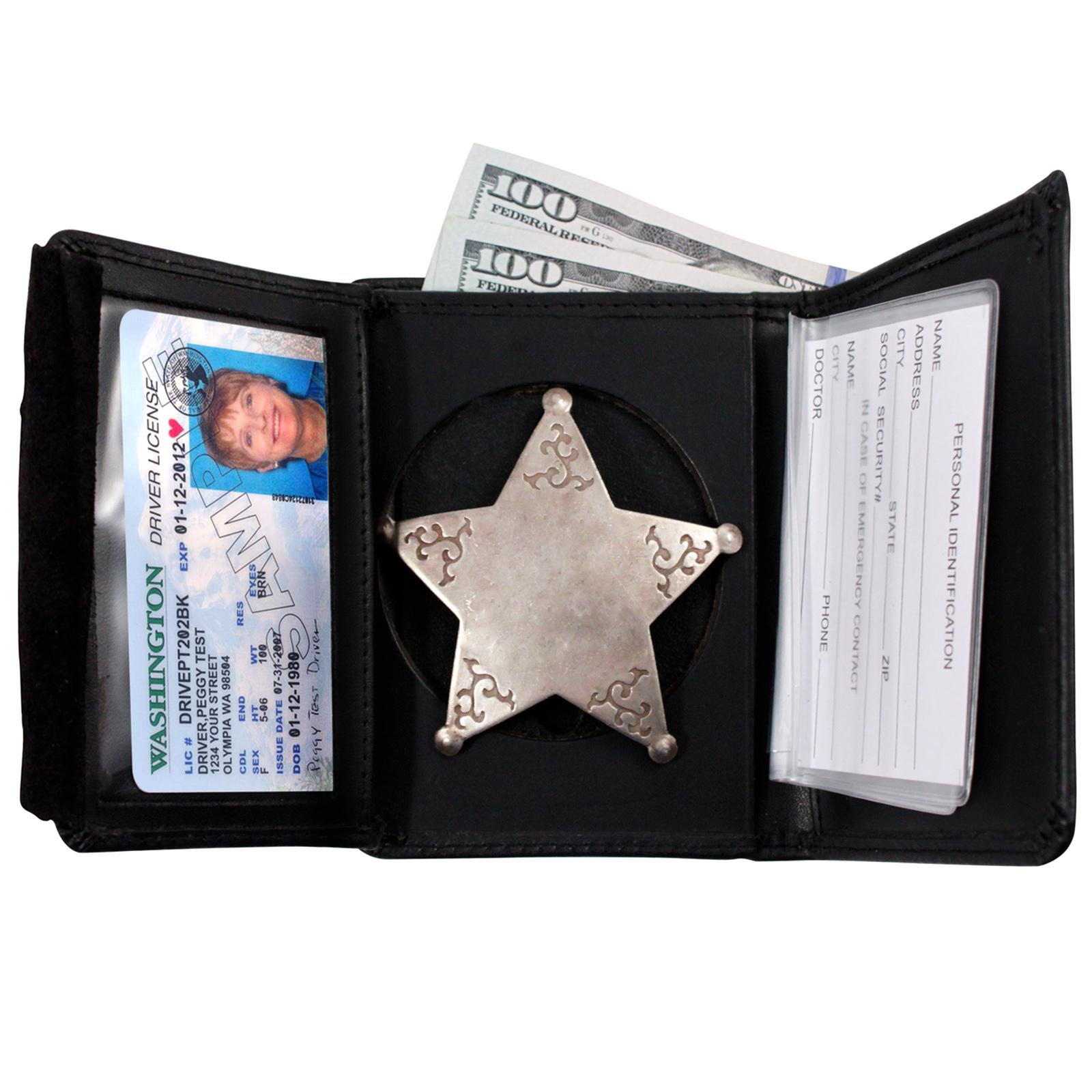 ASR Federal Law Enforcement Leather Hidden Badge RFID Wallet - Round