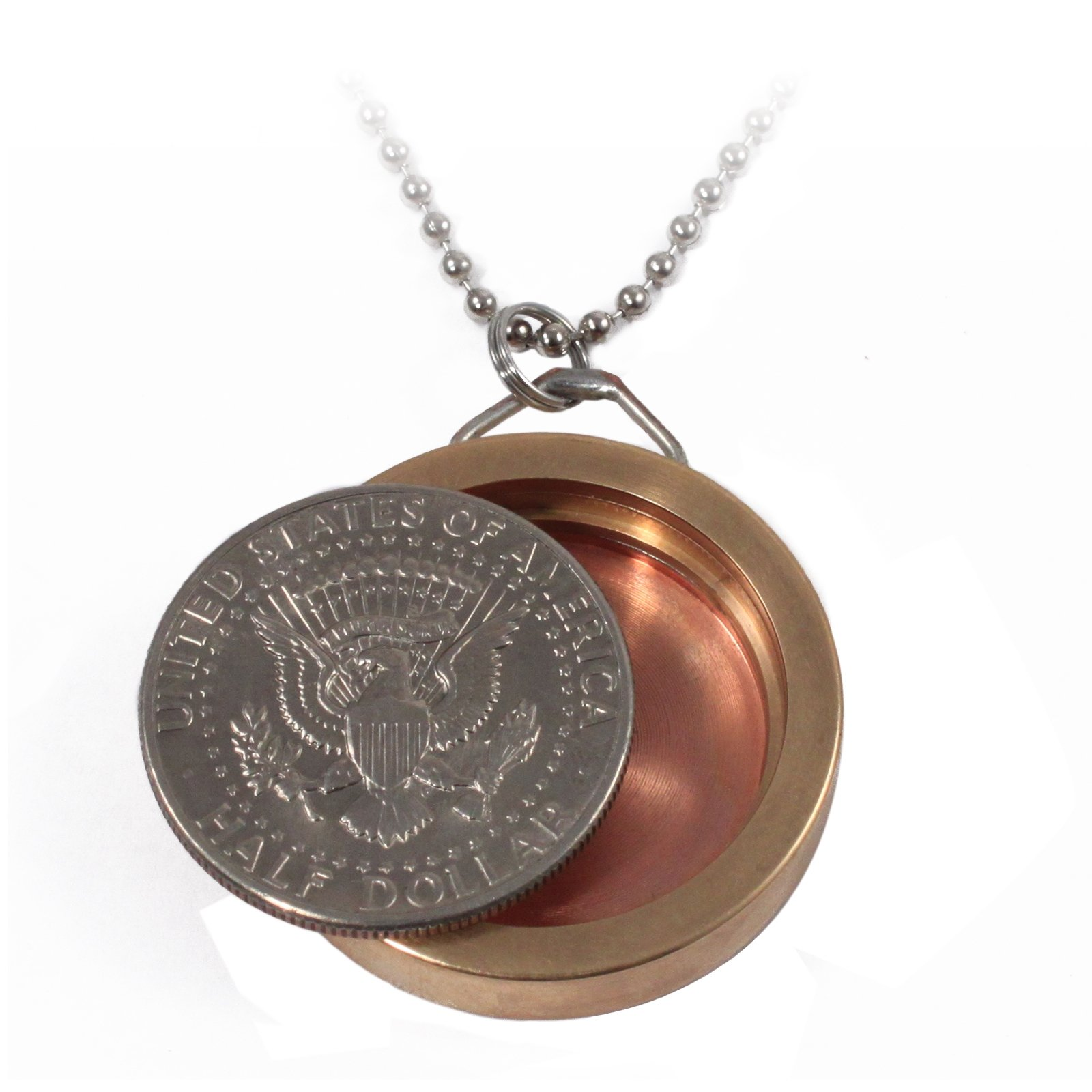 Half Dollar Pendant Neck Chain with Hidden Compartment