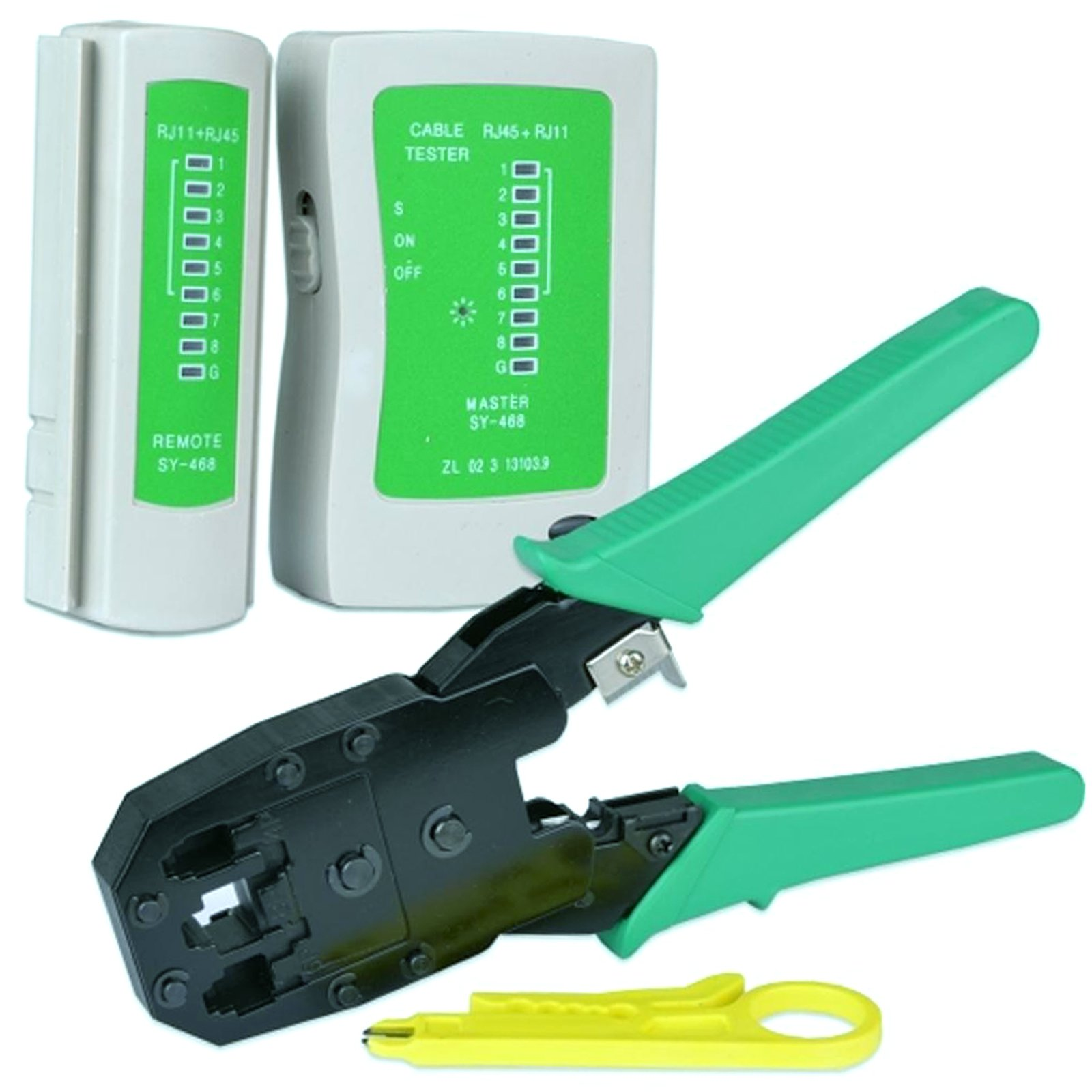 Network Cable Tester and Modular Crimping Tool for Electronics Repair