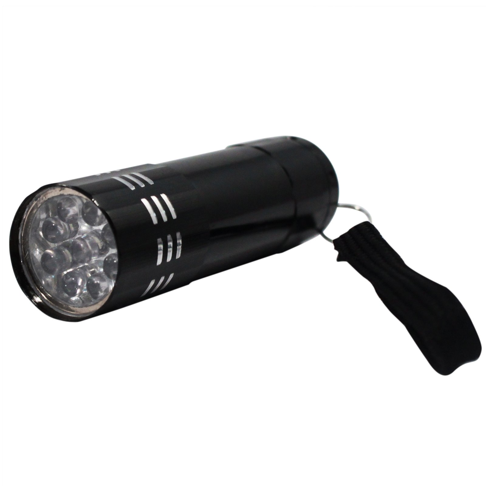 9 LED Super Bright Portable Black Mini Flashlight with Lanyard