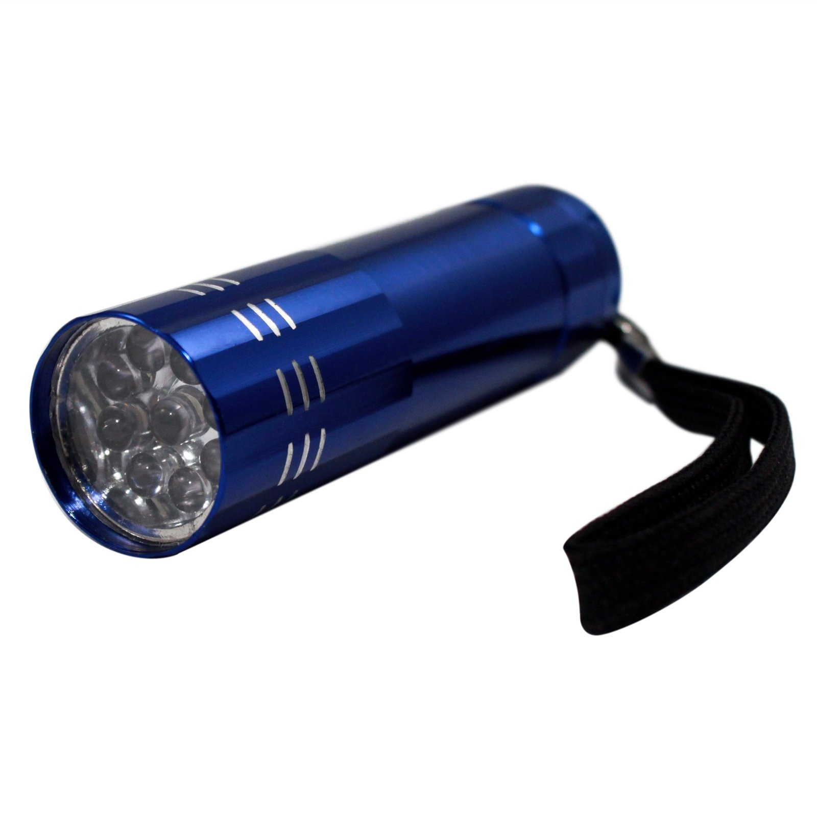 9 LED Super Bright Portable Blue Mini Flashlight with Lanyard - 4 Pack