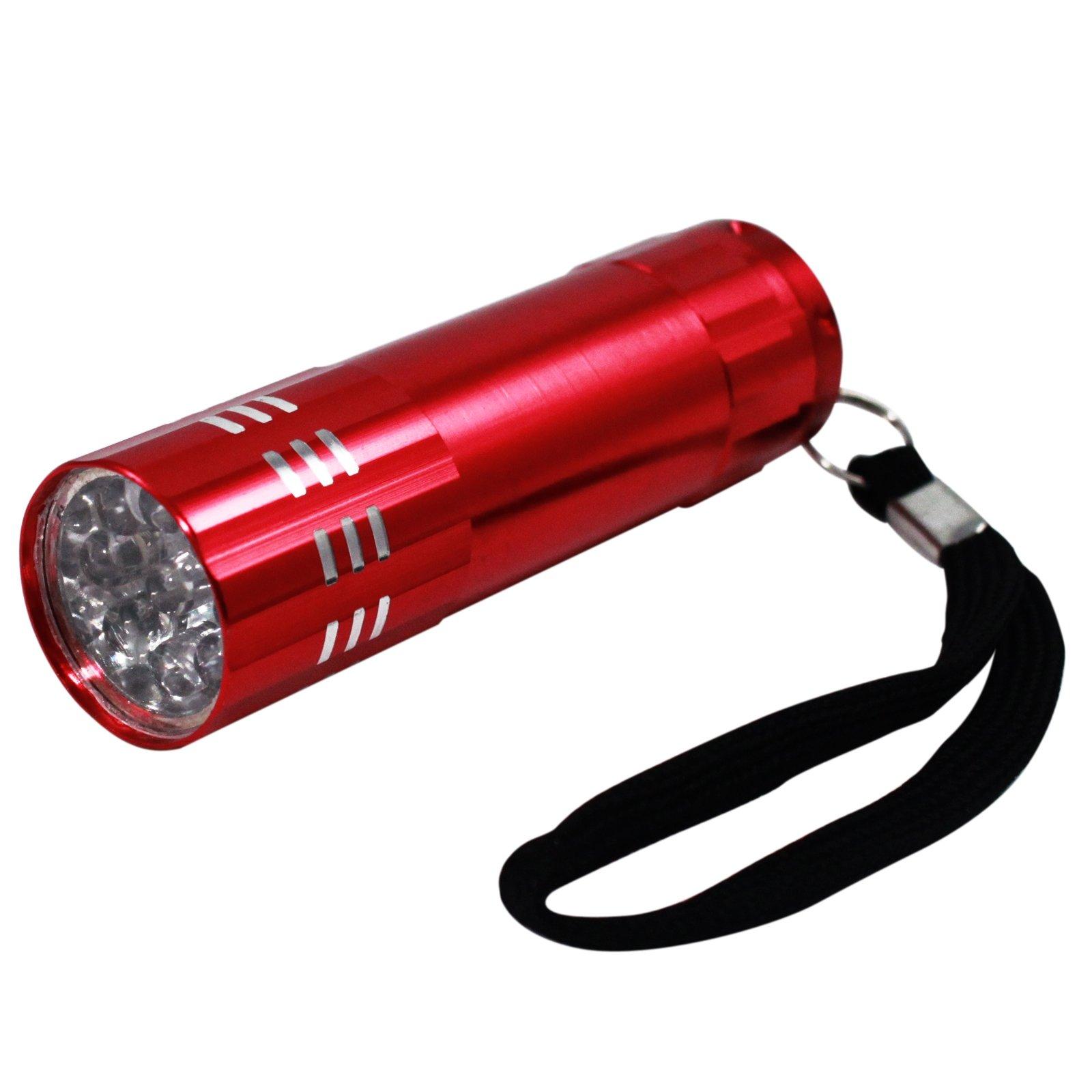 9 LED Super Bright Portable Red Mini Flashlight with Lanyard