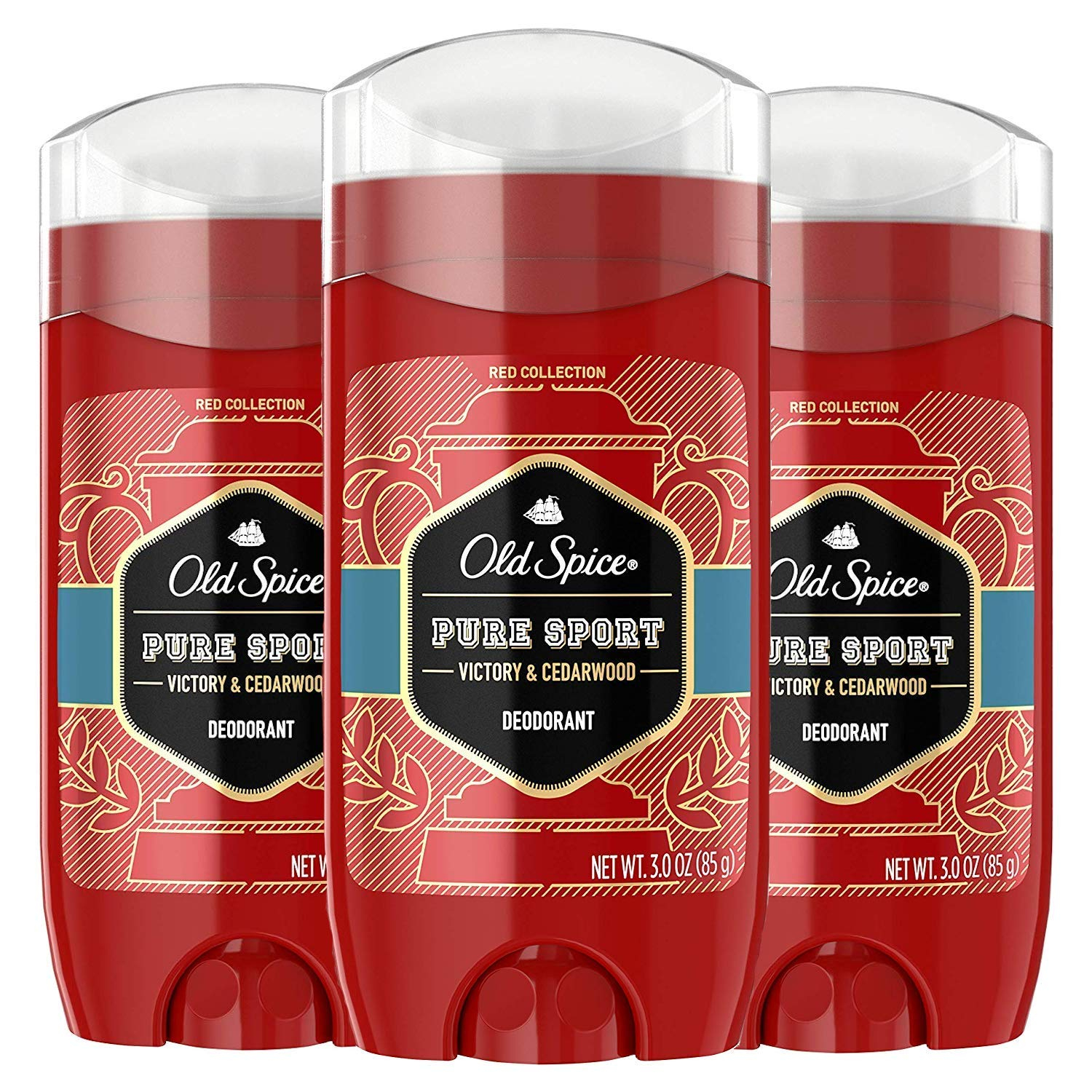 3 Pack Old Spice Red Collection 48-Hour Deodorant -Pure Sport 3oz
