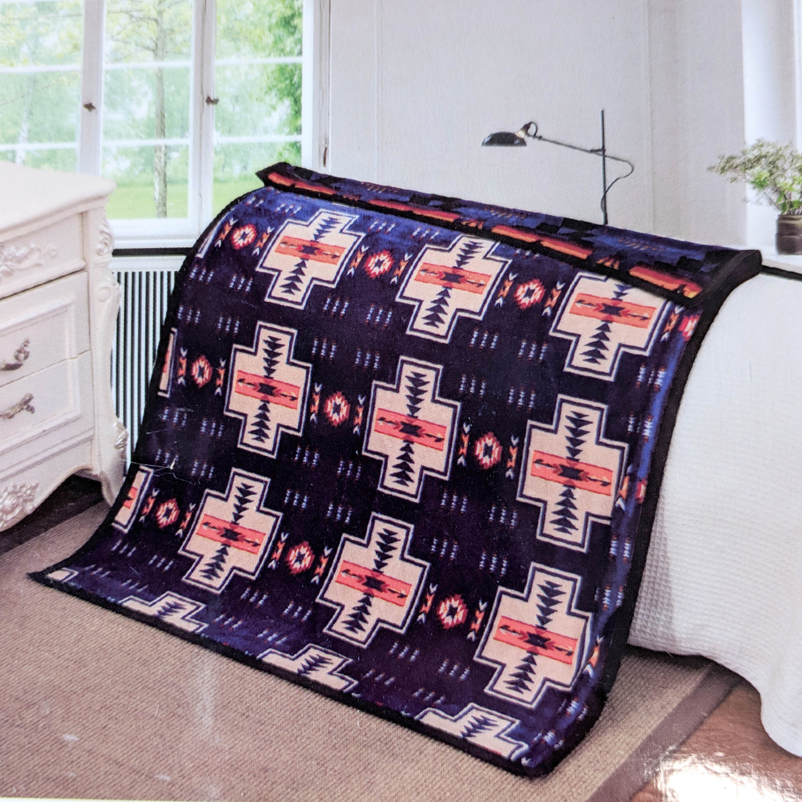 ASR Outdoor Southwest Blanket Reversible Throw - Navy Blue