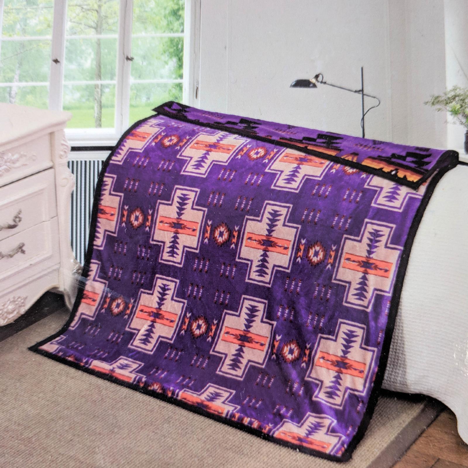 ASR Outdoor Adventure Wilderness Reversible Blanket Southwest Design - Purple