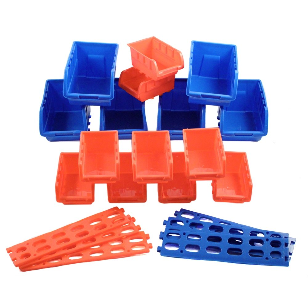 21-Piece Assorted Plastic Storage Bins and Wall Mount Shelves Hobby Crafting Organizing Set
