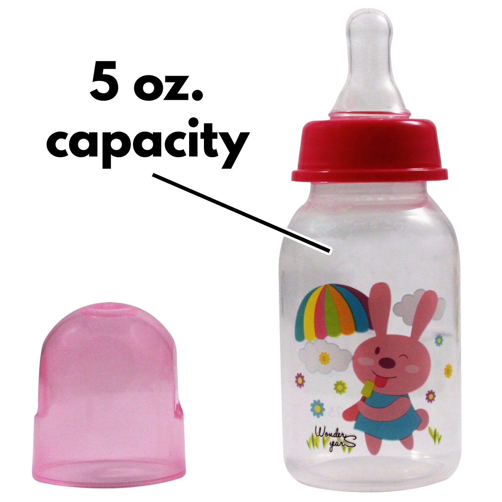 KidPlay Products Infant Baby Bottle 5oz Pink Bunny Silicone Nipple Sippy Cup