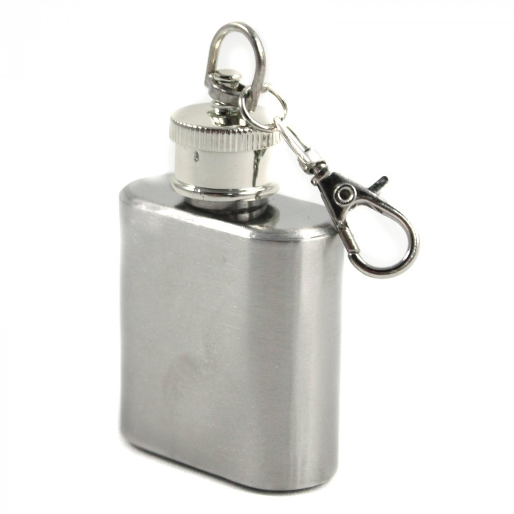Mini Key Chain Flask Stainless Steel Screw On Cap with Funnel Top - 1oz