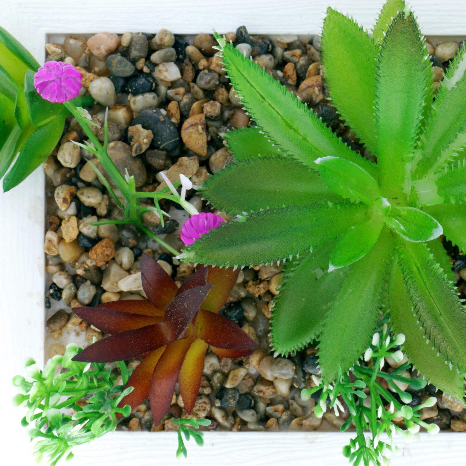 Home Essentials Decor Artificial Plant Succulent Garden In Planter - White