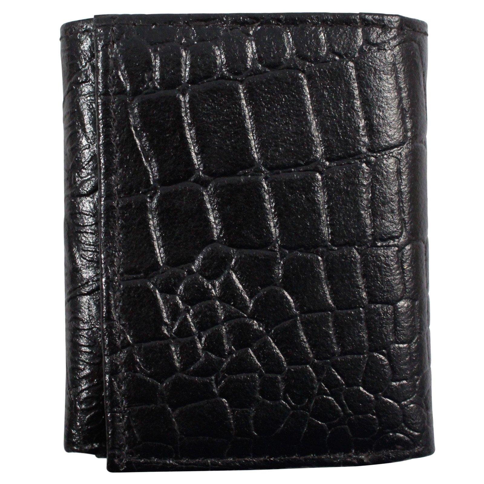 Brandon Dallas Genuine Handcrafted Leather Wallet - Black Crocodile