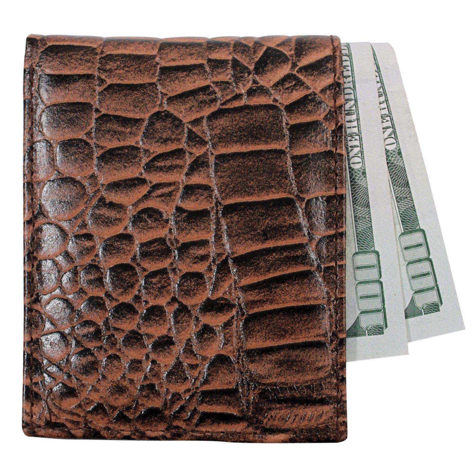 Brandon Dallas Genuine Cowhide Bifold Leather Wallet Brown - Crocodile
