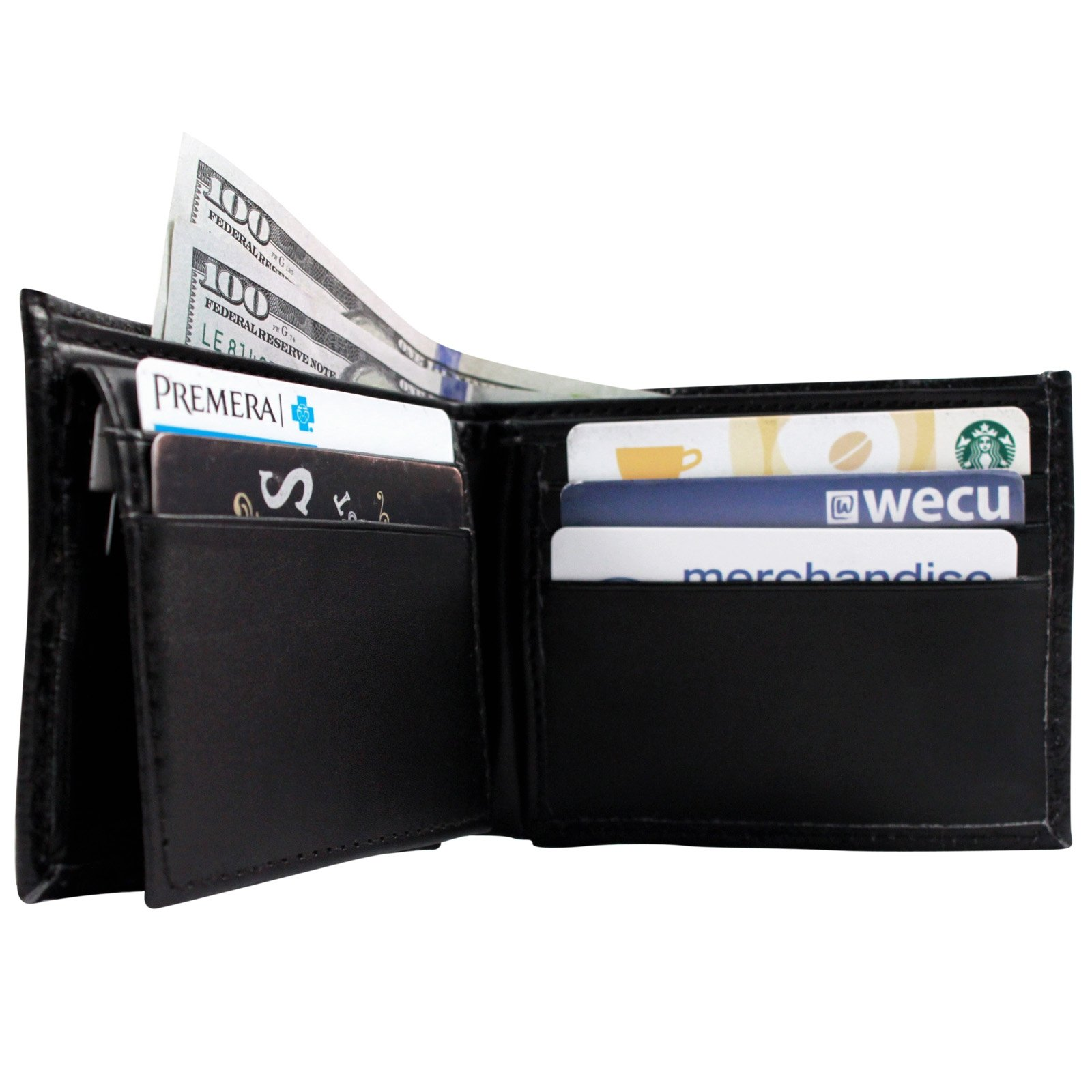 Brandon Dallas Genuine Cowhide Bifold Leather Wallet - Black Ostrich