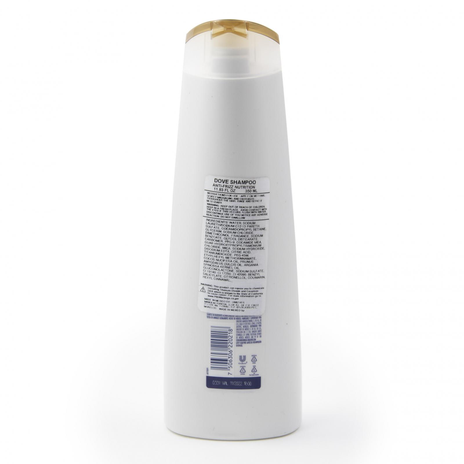 Dove Hair Care Shampoo Anti Frizz Formula with Argan Oil