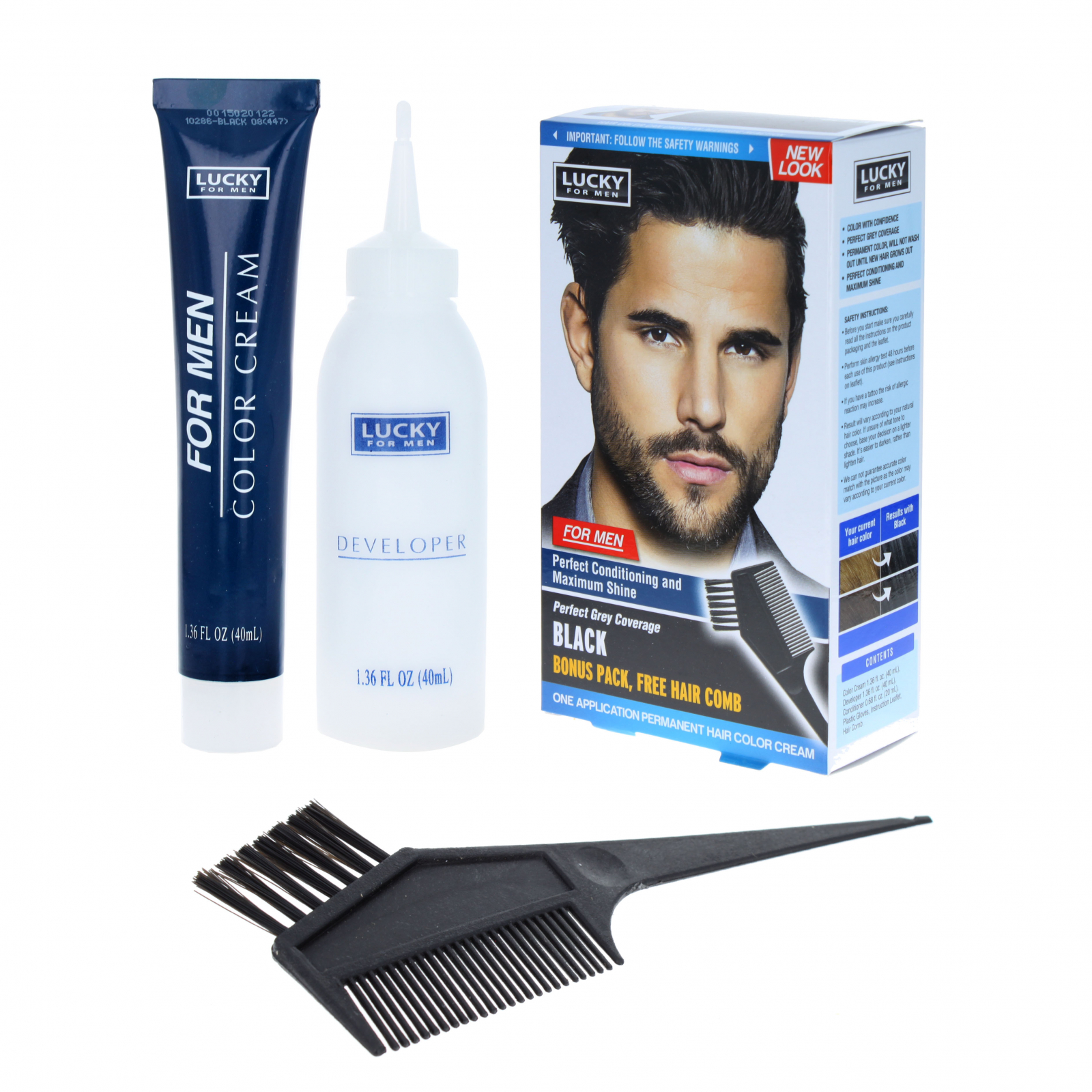 Lucky for Men One-Time Application Permanent Hair Color Kit