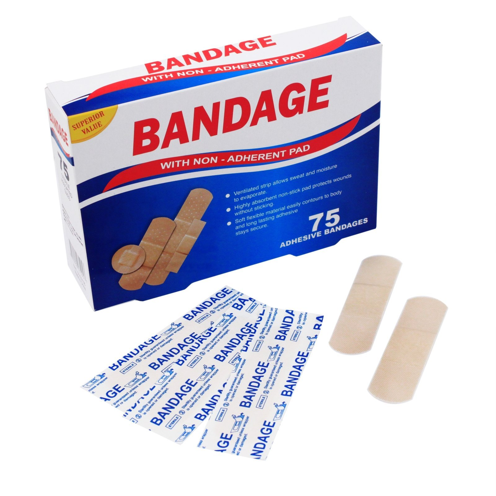Adhesive Bandage Set Sterile Breathable Long Lasting Assorted Sizes 75 Count