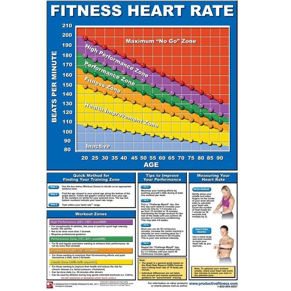 Productive Fitness Poster Series Heart Rate Chart Non-Laminated