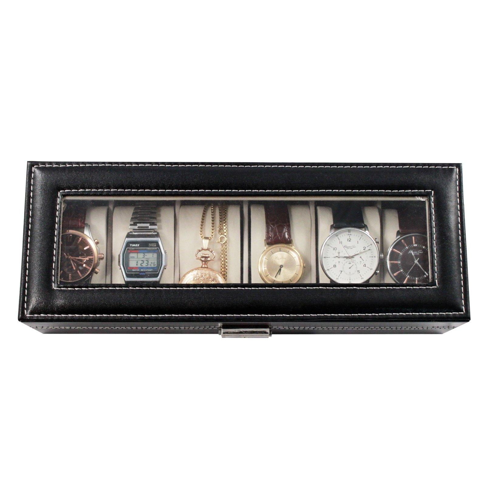 Home Essentials Deluxe 6 Watch Glass Top Locking Storage Case