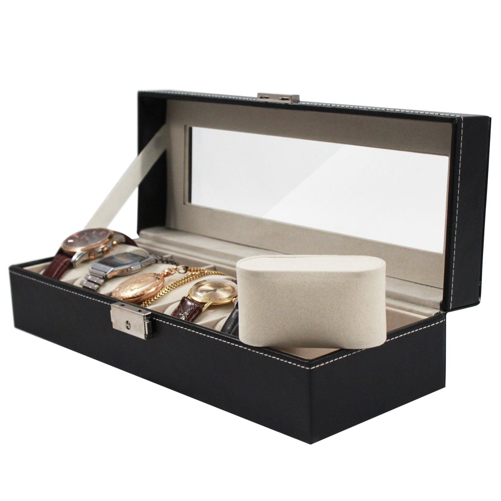 Home Essentials Deluxe 6 Watch Glass Top Locking Storage Case