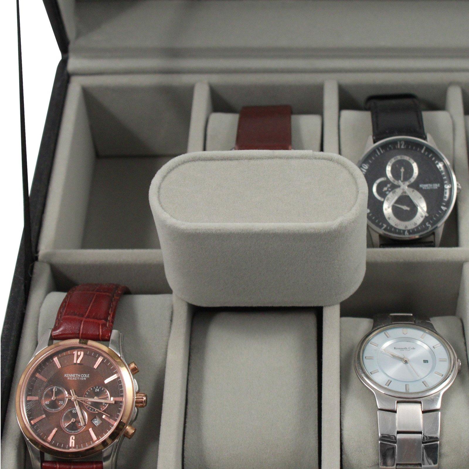 Home Essentials Deluxe 12 Watch Glass Top Locking Storage Case