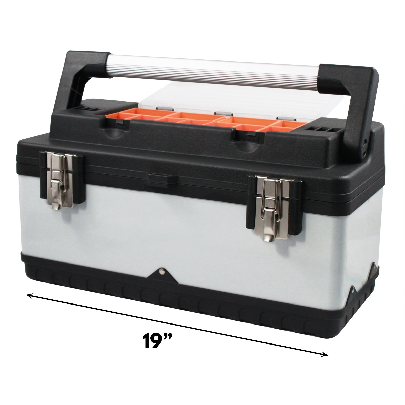 Universal Utility Tool Box Steel and Plastic Lift Out Tray 11 Storage Containers