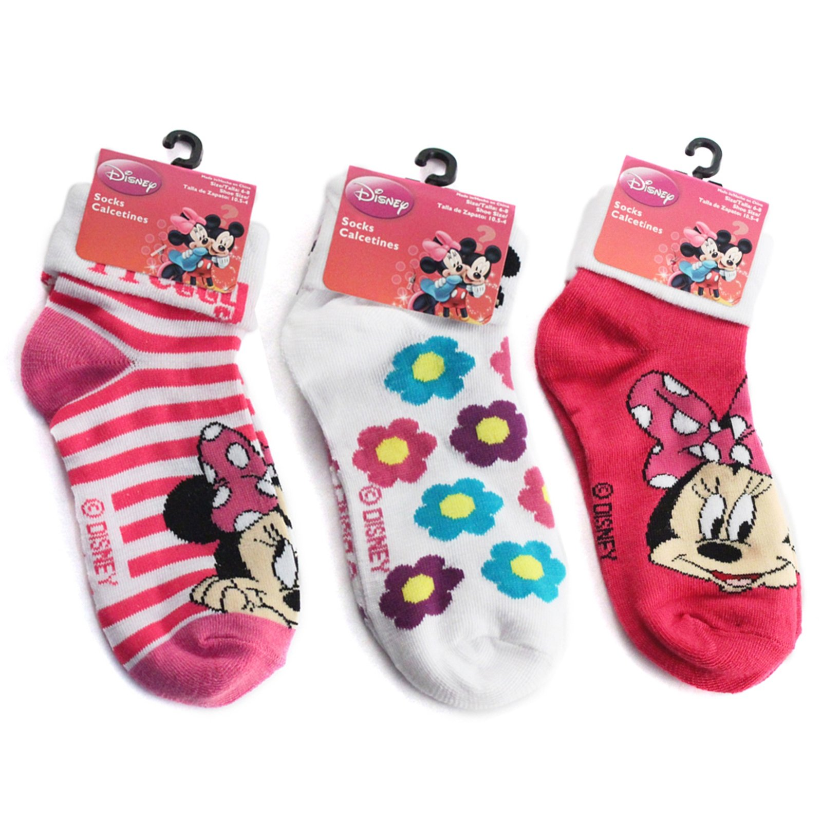 3pk Disney Minnie Mouse Stretch Turn Cuff Ankle Socks Size 6-8