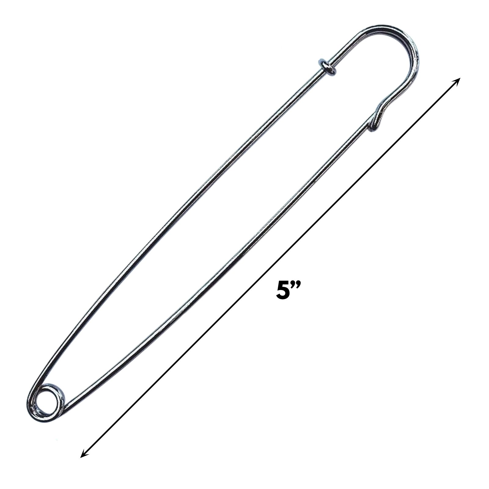 5 Inch Nickel Plated Safety Pin Hobby Tool Sewing DIY Crafts and Repairs - Large