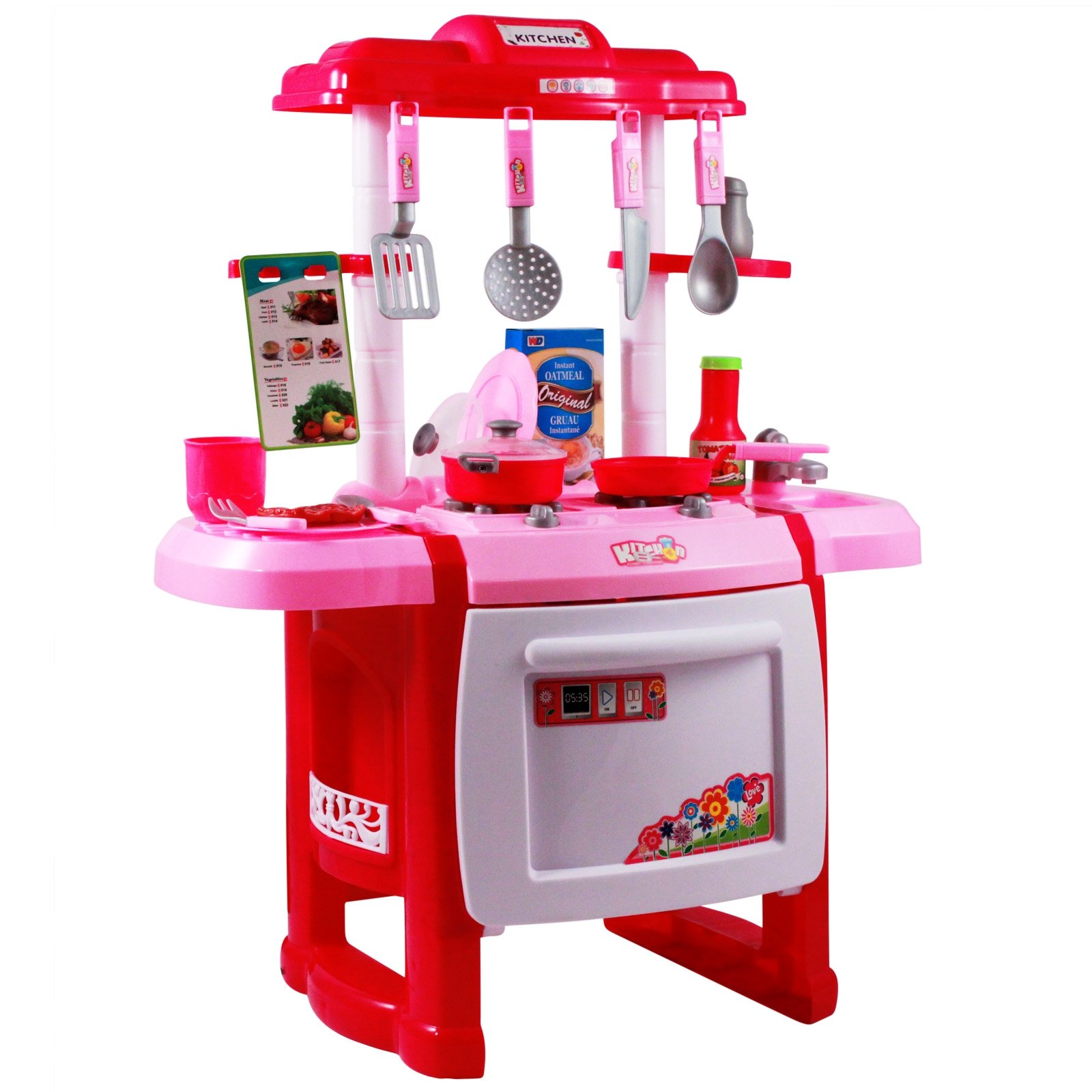 Kids jumbo light up pretend play pink kitchen oven set for Full set kitchen