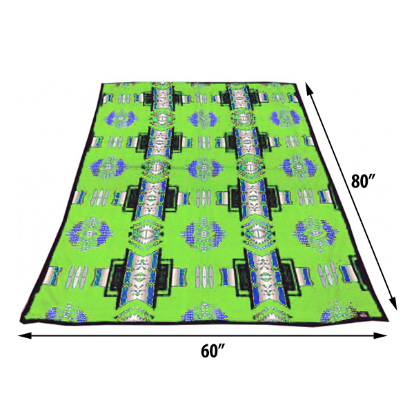ASR Outdoor Southwest Style Fleece Blanket Full Lime Green