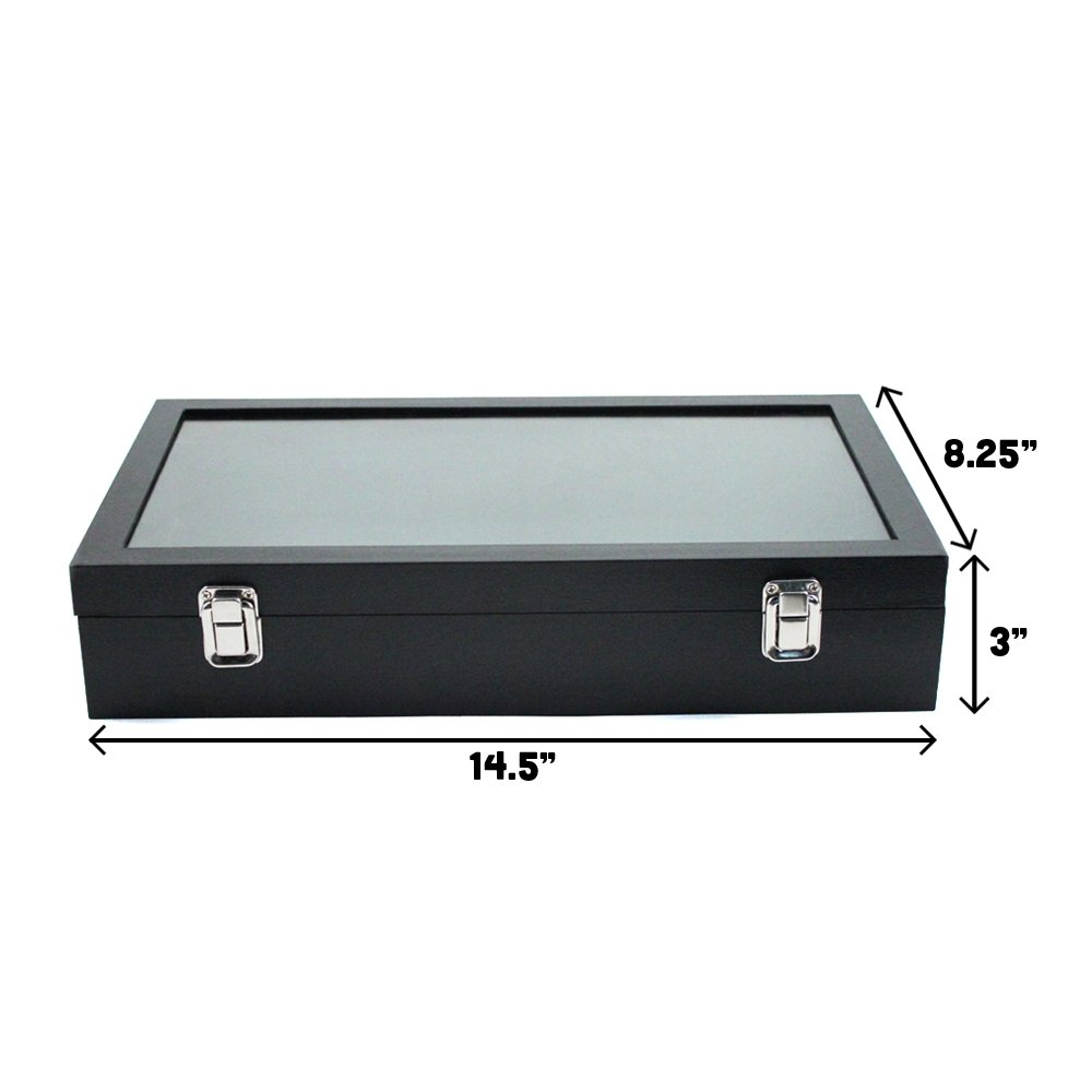 Black display case to keep items safe and in one central place