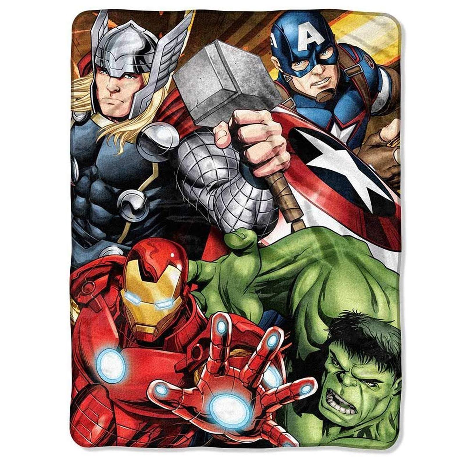 Marvel Four Avengers Soft Throw Blanket 46 x 60 Inch