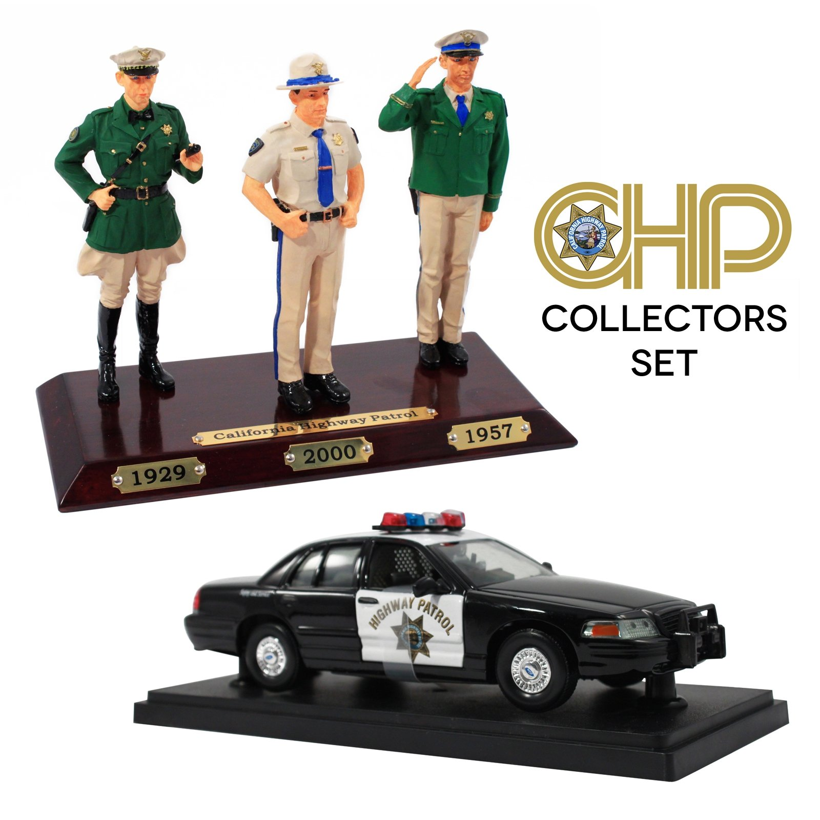 Collectible California Highway Patrol Police Car Replica & Figure Set
