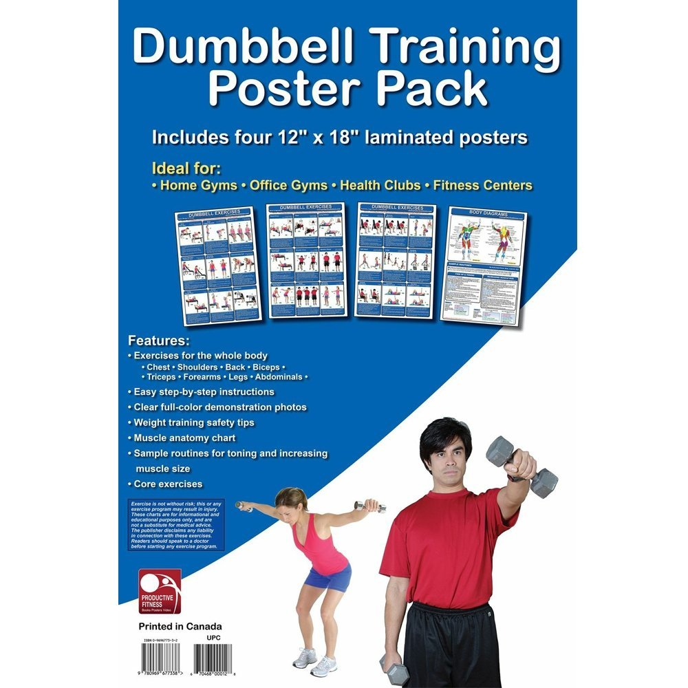 Productive Fitness Poster Series Dumbbell Exercises 4 pack