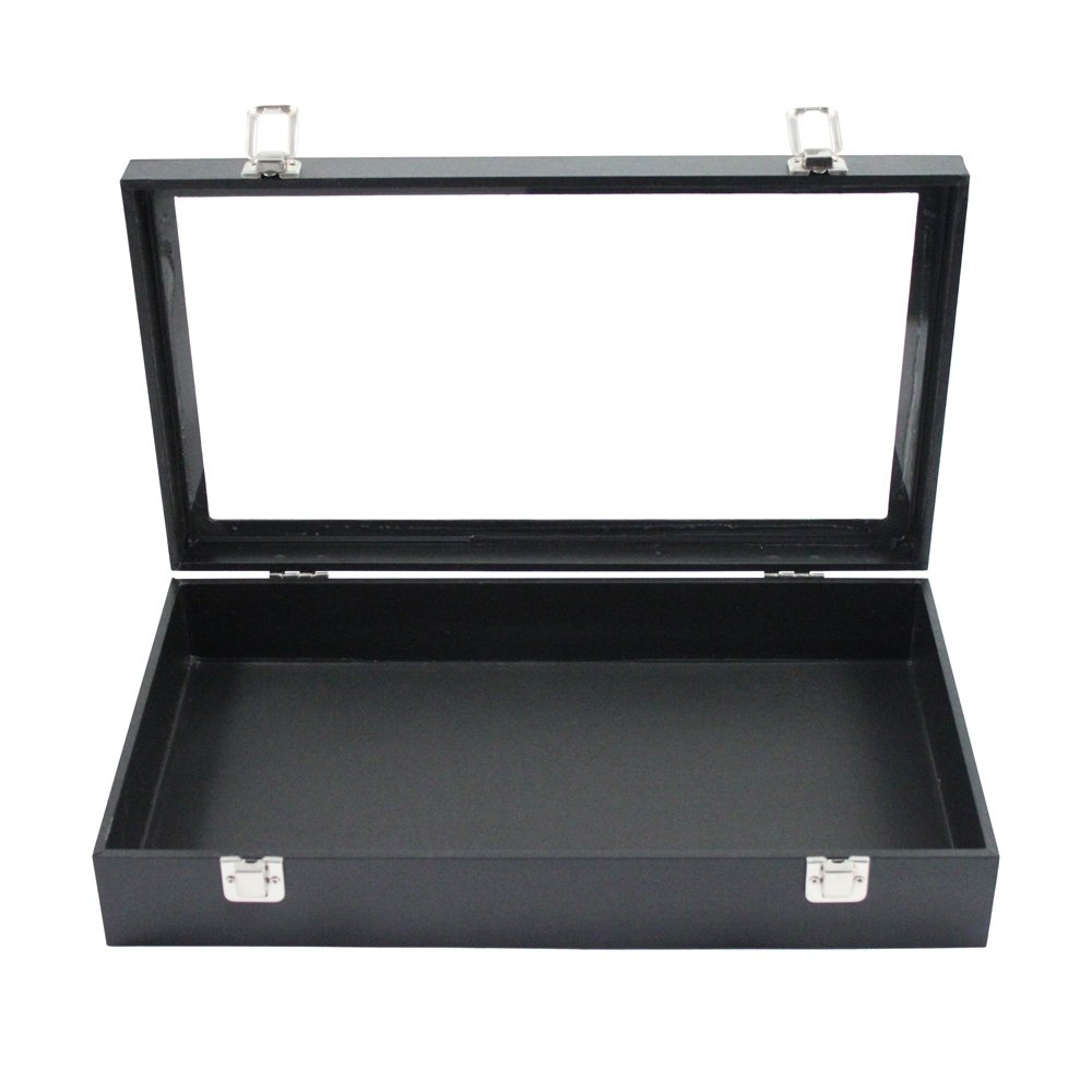 Black Display Box and Liner Tray with Finished Wood Jewelry Organizer Storage