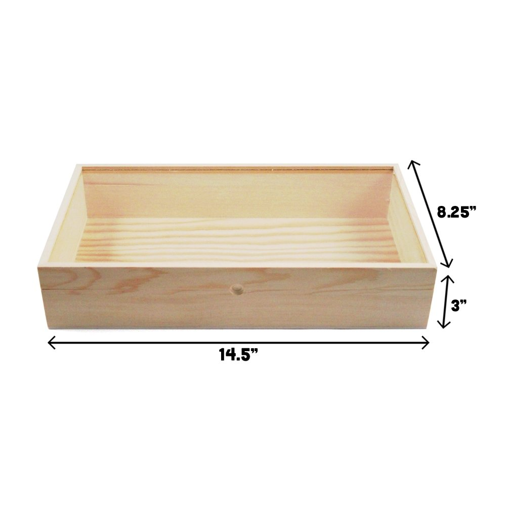 Wooden Glass Top Jewelry Display Box Accessory Organizer Case - 15 Inch