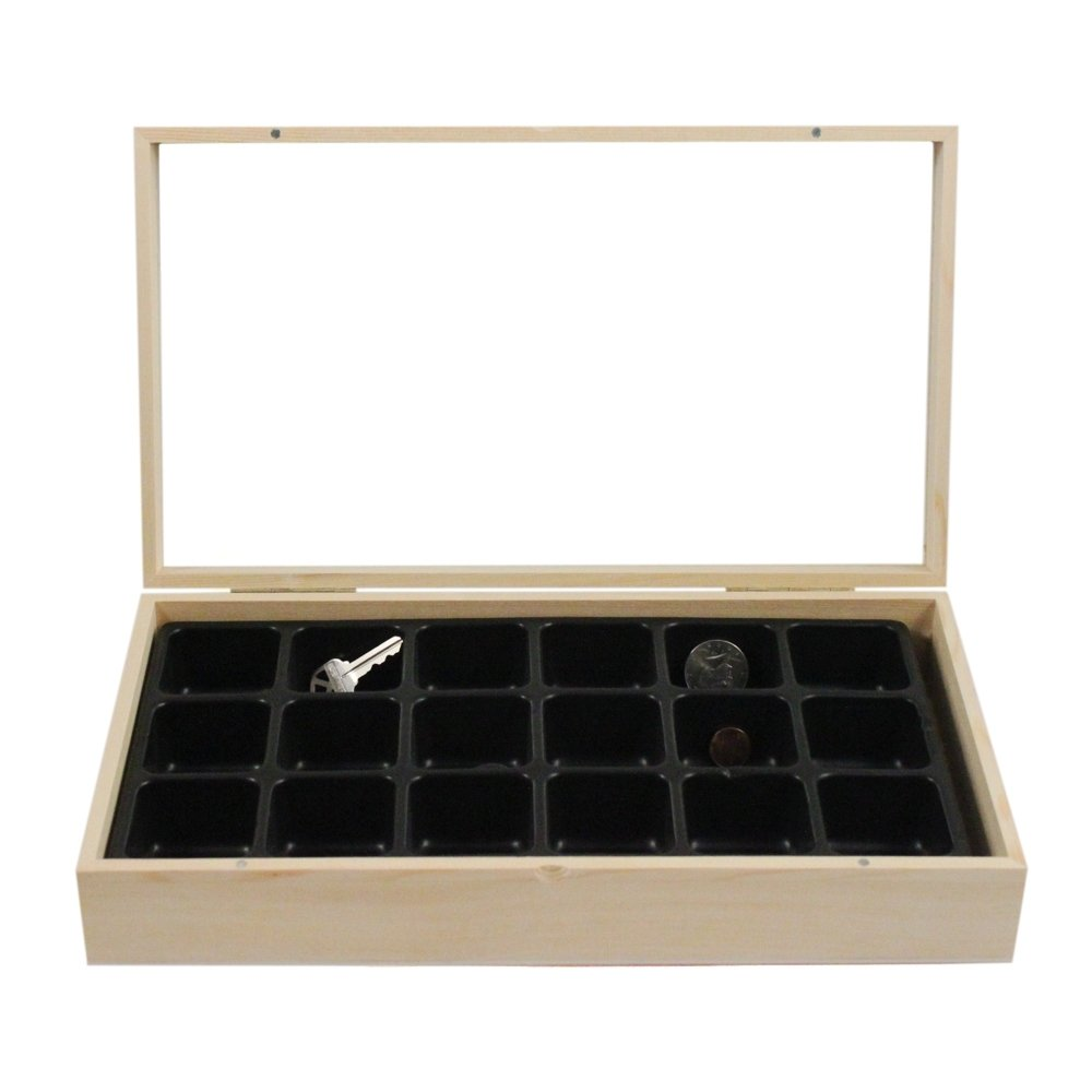 Wooden Display Case Jewelry Box & 18 Compartment Liner Tray