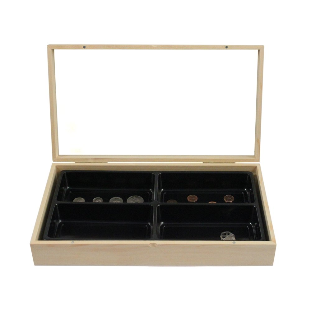 Wood Jewelry Box 4 Liner Tray