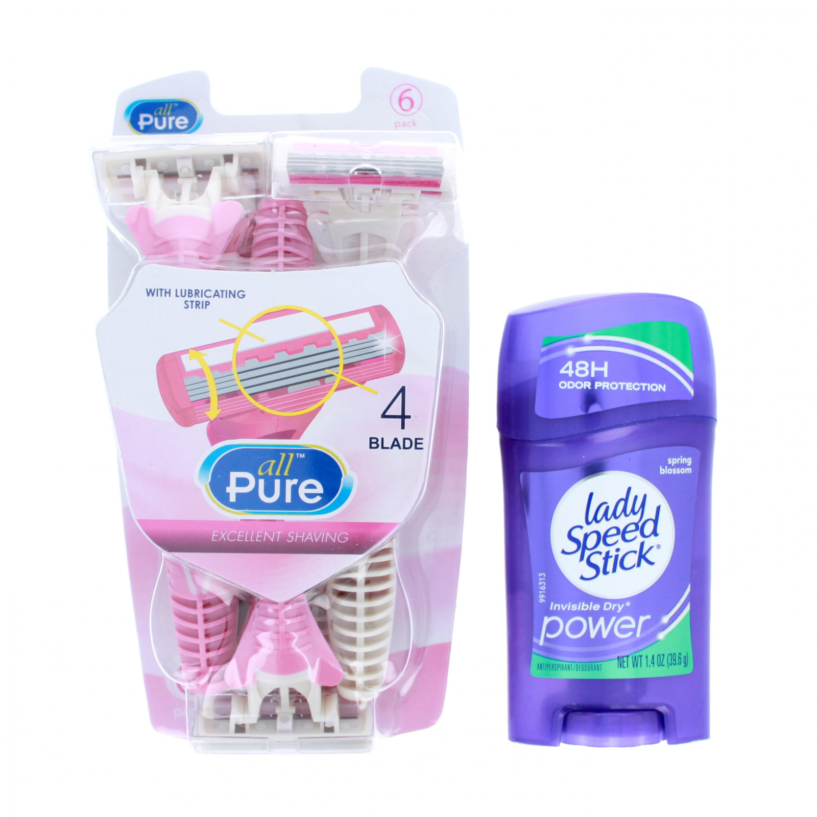 Womens Underarm Care Set Deodorant and 6 Disposable Razors
