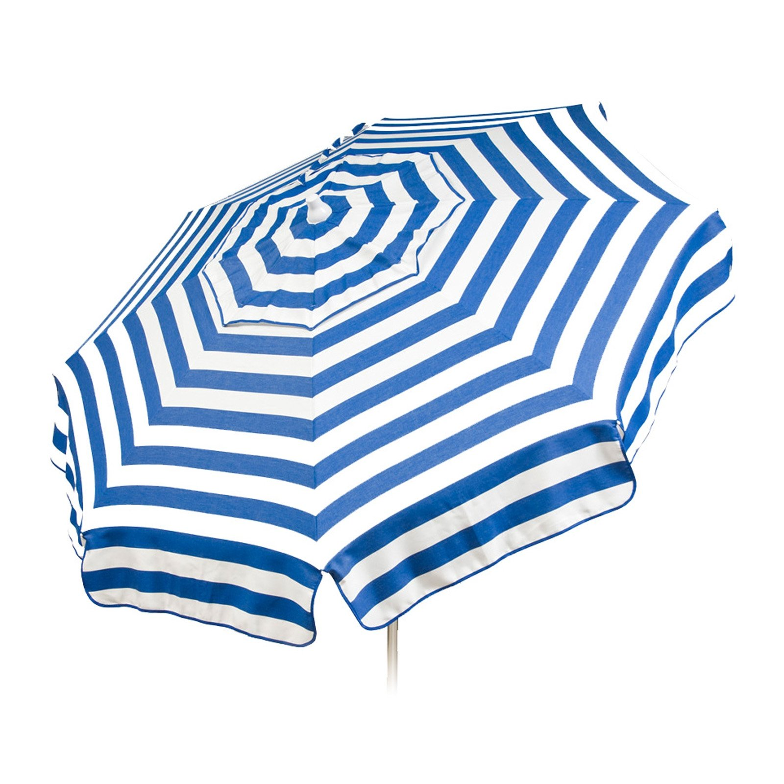 Italian 6 foot Push/Tilt Umbrella Acrylic Stripes Blue and White - Patio Pole