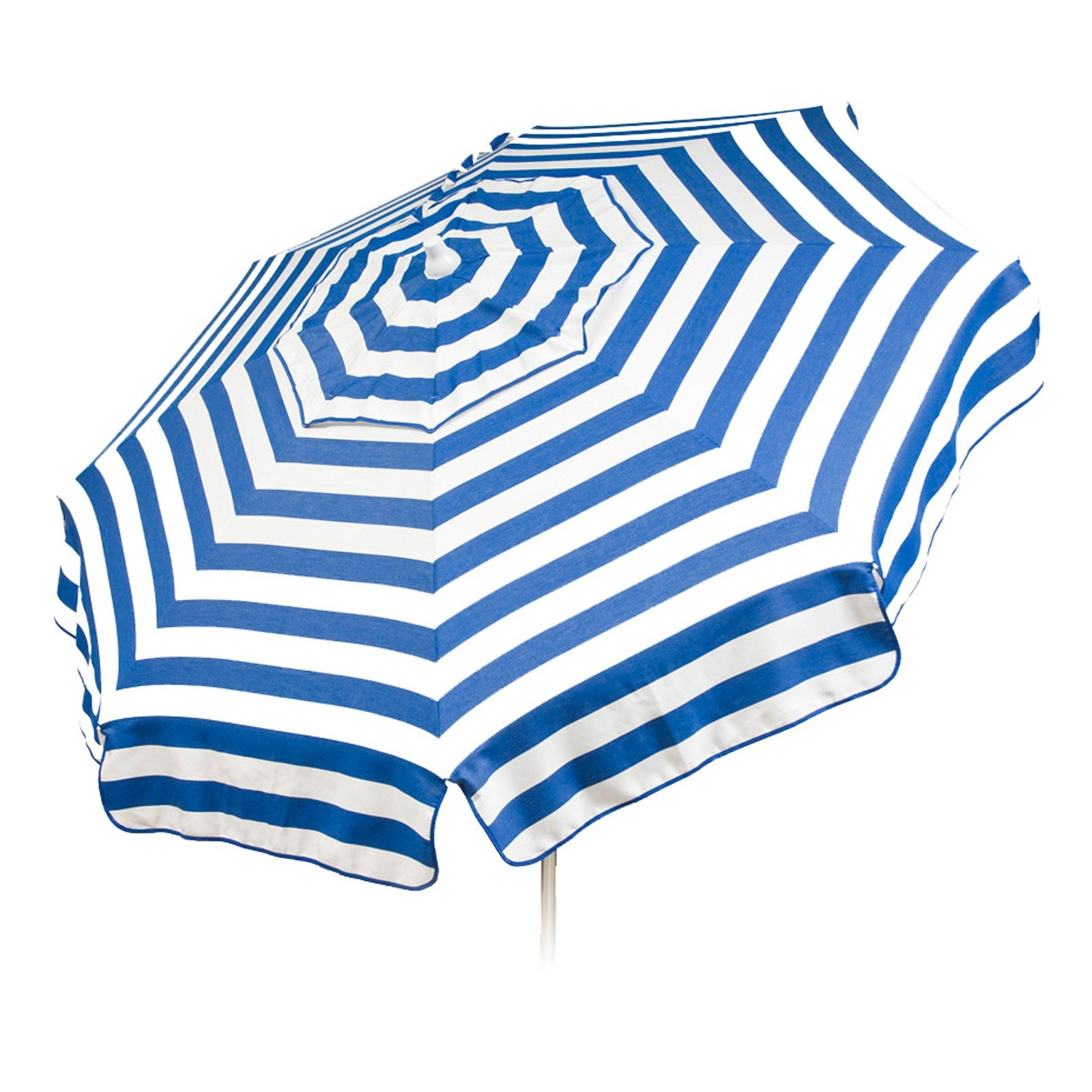 Italian 6 foot Push/Tilt Umbrella Acrylic Stripes Blue and White - Beach Pole