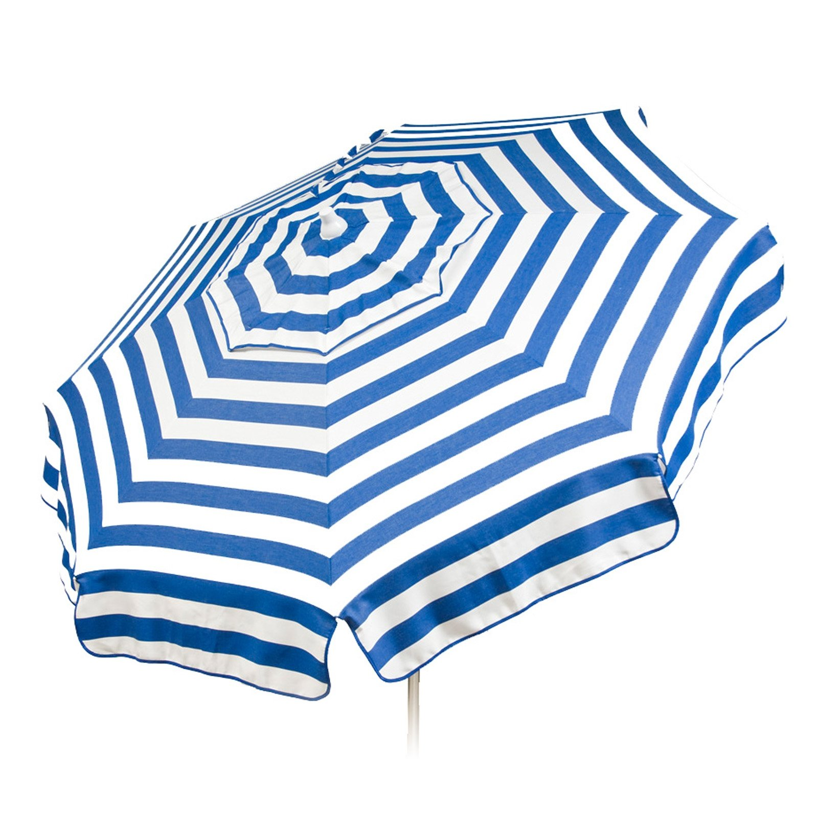 Italian 6 foot Push/Tilt Umbrella Acrylic Stripes Blue and White - Bar Pole