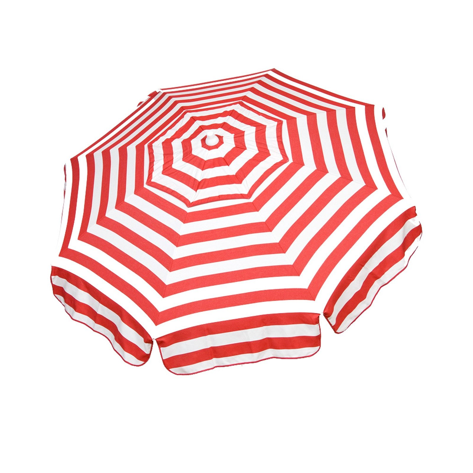 6ft Italian Market Tilt Umbrella Home Patio Canopy Sun Red Stripe- Beach Pole